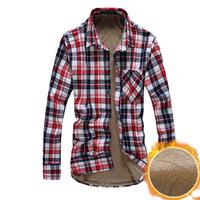 Men  Add thickening Add wool  Lattice long Sleeve shirts Fashion  Free-shipping New 2014 warm  winter