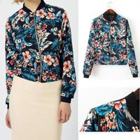 2014 ZA Autumn Women Trendy Leaf & Flower Floral Printed Stand Collar Zipper Orient Blue Jacket Casual Slim Outerwear Coat Cozy
