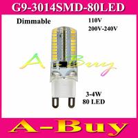 Dimmable LED lamps 7W G9 3014 SMD 80 LEDs Droplight Silicone Body Bulb AC 110V 220V 230V 240V Crystal Chandeliers light