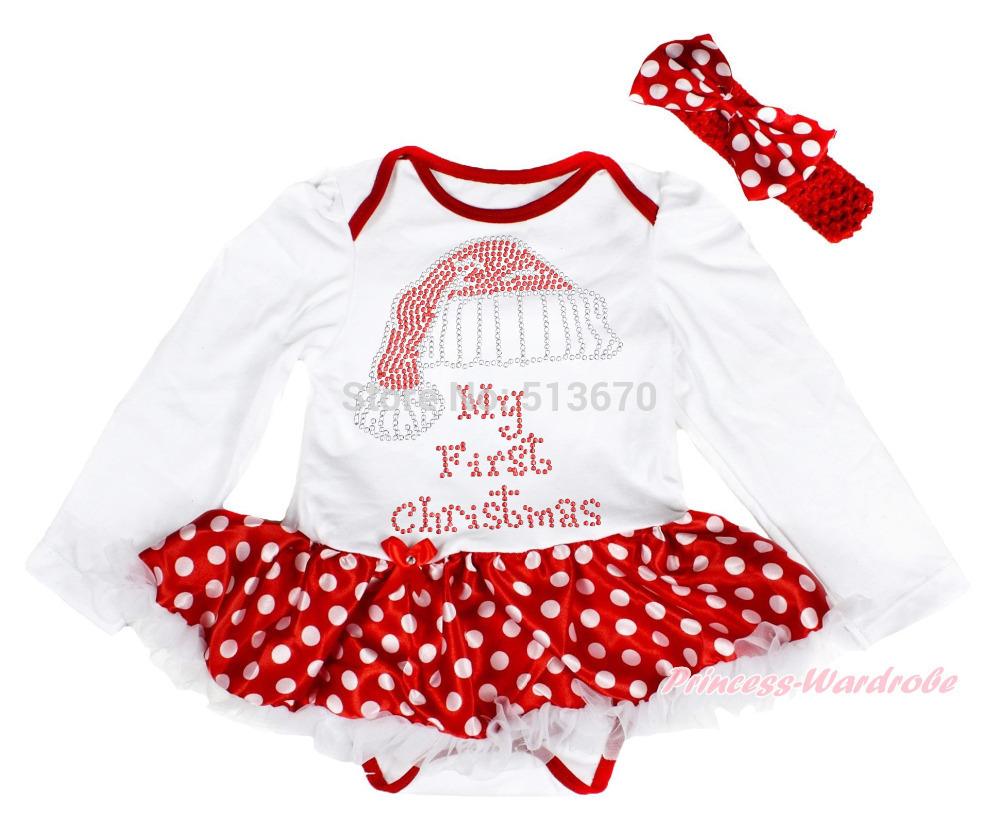 Christmas print kelly green bodysuit snowflake skirt girl baby dress
