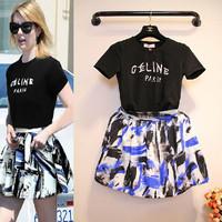 European Grand Prix 2014 summer models in Europe and America women's knitted T-shirts+short skirt set
