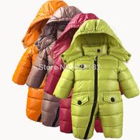 children boy's girls winter warm down jacket baby clothing kid's down parkas one piece thick romper/jumpsuit bodysuit down coat