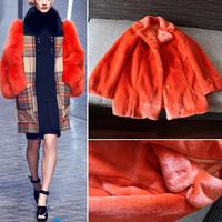 SUPER QUALITY!!! 2014 New Trendy Women Candy Orange Colors Hairy Shaggy Faux Rabbit Fur Cardigan Long Warm Coat Outerwear