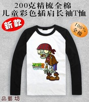 Spring and autumn Plants vs . zoombies 2 pirate long-sleeve t-shirt Children's clothes fashion Plants vs zombies T-shirt