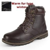 Size38-48 Light brown+Coffee brown+Dark brown+Black winter boots men genuine leather platform boots winter shoes for men