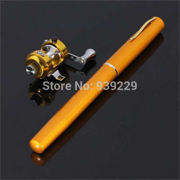 Free Shipping Golden Vara De Pesca Mini Aluminum Pocket Pen Fishing Rod Pole + Reel Sea Fishing Rods Tackle Tool(China (Mainland))