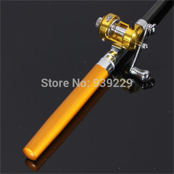Free Shipping Golden Vara De Pesca Mini Aluminum Pocket Pen Fishing Rod Pole Reel Sea Fishing