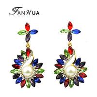 New Elegant Colorful Joyas Rhinestone Drop Alloy Earrings Brincos For Women Dangle Earrings