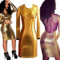 Fashion new long sleeve metallic snake skin top-grade mesh back expose sexy club long sleeve dress A-106