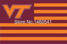 Virginia Tech Hokies With Modified US Flag 3ft x 5ft Polyester NCAA Banner Virginia Tech Hokies Flying Size No.4 144* 96cm (China (Mainland))