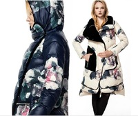 Free shipping EMS !!! 2014 fashion women long down brand jacket ,S-XXL,big size.,rabbit fur collar ,Cebus apella female clothing