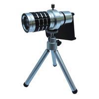 Aluminum Alloy 12X Optical Zoom Telescope Camera Lens Fisheye Macro Wide Angle Camera Lens + Tripod Holder + Case for iPhone 5