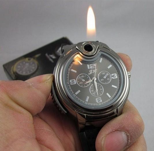 2015New Military Lighter Watch Novelty Man Quartz Sports Refillable Butane Gas Cigarette Cigar Men Watches HOT