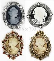 4 pcs/lot  Vintage Floral Glass Rhinestone Cameo Brooch  , Free shipping AB015