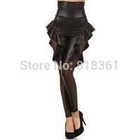 Gothic Black Faux Leather Skirt Leggings Rock Punk Ruffled Patchwork And Mesh Insert Fitness Legging Pants Jeggings L61