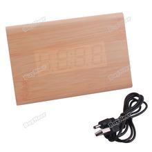 tomtent Content! Triangular Green LED Digits Digital Alarm Clock Framework 828 Wood Hot promotion!(China (Mainland))