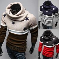 Winter 2014 New Korean Turtleneck Sweater Design Men's Pullover Men Sweaters Brand Fashion Cotton Slim Man sweater