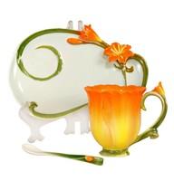 200ml Flower modelling ceramic coffee tea set high-grade mugs enjoy  time art collection gift Wedding holiday gift decoration