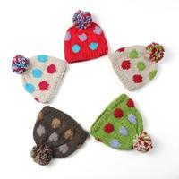 2014 Hot Sale Baby Winter Hat Handmade Knitting Crochet Skullies & Beanies Christmas Warm Cap 5 Colors