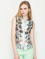 Summer New Women Sleeveless Vivid Ink Flowers Plants Chiffon Blouse Fashion Ladies' Elegant Turn-down Collar Button Slim Tops