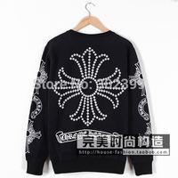 New Fashion cross 2015 horseshoe flower lovers plus velvet sweatshirt pullover outerwear  free shipping