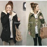 Korean Women Long Sleeve Thicken Fleece Hooded Parka Winter Coat Jacket Outwear Green Black Plus Size WC01