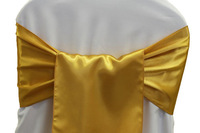 100pcs #136 Gold    Satin Chair Sash For Weddings Events &Party Decoration
