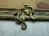 50Pcs Hippocampus Charms Pendant Antiuqe Bronze Tone DIY Jewelry Making