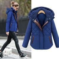 2014 winter ladies parkas women warm hoodie winter cotton down coat female leather patchwork coat blue fashion girls jacket
