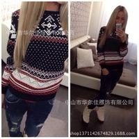 NEW 2014 stylish snowflake sweater pullover women winter sweatshirt