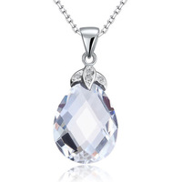 WHOLESALE 925 Sterling Solid Silver Tear Drop High Quality Clear Crystal Pendant Necklace CFN8018