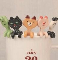 Free Shipping Cartoon Creative Cute Animal Ceramic Coffee Milk Tea Spoon Kitchen Dining 4016-605
