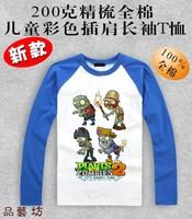 Plants vs zombies T-shirt Children's clothes 100% cotton  long-sleeve clothes Fashion family plants vs . zoombies 2 T-shirt