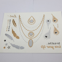 Newest Gold and Colored - Metallic Temporary Tattoos For Women Jewelry 5pcs GFT-010