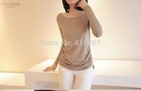 HOT Women's fashion leisure T-shirt casual Modal t shirt women long sleeve O-Neck t shirt.Free shipping