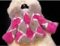 5933 # fox fur fur coat 2014 new winter Quilted spell color Haining fur fox fur Women