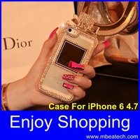 luxury diamond Rhinestone perfume bottle case for iphone 6 4.7 inch with lanyard chain case free shipping