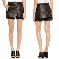 Vampish PU a bust skirt cover patch pocket after invisible zipper lighten-end shorts shorts feminino