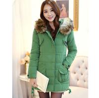 New Arrive Winter Feminino Cotton Outerwear Slim Mid-Long Women Waded Coat Hooded Faux Fur Collar Warm Parkas Jacket 3Colours