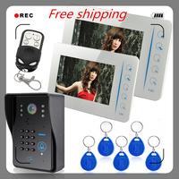 """7"""" Door Phone Doorbell Video cameras System Compatible RFID Keyfobs CCTV Intercom"""