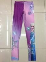 VOLFOUR new 2014 Fitness Printed Women Frozen Snow Queen Aisha Print Leggins Blue Fun Leggings wholesale punk Pant Free Shipping