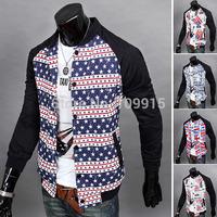 Fashion Men Boy Long Sleeve Slim Coat Stand Collar Zipper Jacket Outerwear L-XXLFree&Drop Shipping