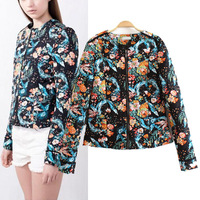 New Women Retro Crew Neck Contrast Flower Floral Print Paisley Long Sleeve Cardigan Zipper Jacket Thin Padded Coats Suits 2014