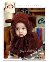 Super soft Solid Cartoon Baby Hat Velvet Scarf Children's Clothing Accessories Cap
