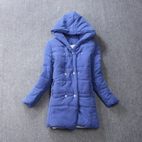 Free shipping cotton female coat in han edition dress long big yards lambs wool with thick cotton-padded jacket hooded