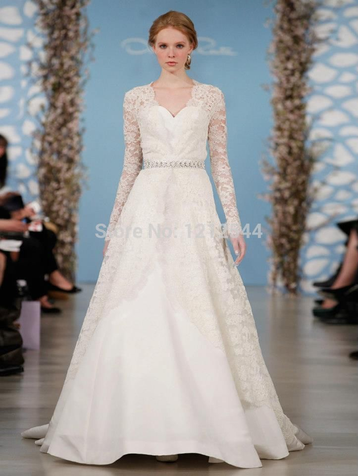 Long Sleeve Wedding Dresses Size 14 : Long sleeve white ivory wedding dress custom size g