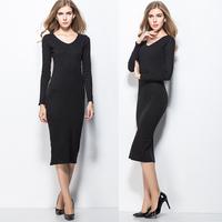 2014 autumn/winter long dress black color package hip Slim women dress bottoming pencil dress plus size s-xxl cotton dress