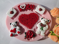 Free shipping Chocolate Silicone Decorating Cake Mold Gum Paste Fondant Cake DIY Mould heart bear design bakeware Kitchenware