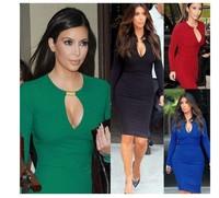 Fashion Autumn Sexy 2014 V-neck Long-sleeved Celebrity Short Dresses Women Fashion Bodycon Kim Kardashian Bandage Dress