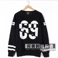 2015  hba fashion digital 69 lovers plus velvet pullover sweatshirt  free shipping
